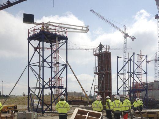 Bombeo de hormigón con distribuidor torre