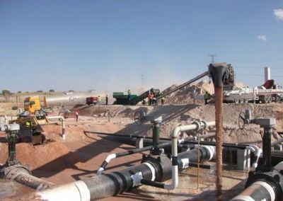 Distribución de arena en gaseoducto