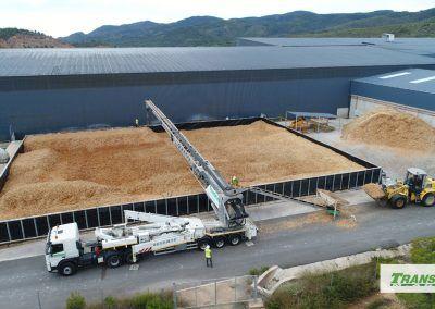 Telebelt distribuyendo biomasa
